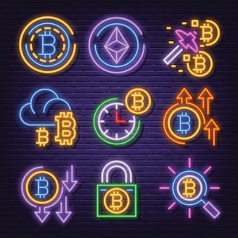 Cryptocurrency neon pictogramserie