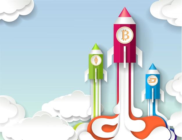 Cryptocurrency opstarten, bitcoin groeiconcept in papieren kunststijl.