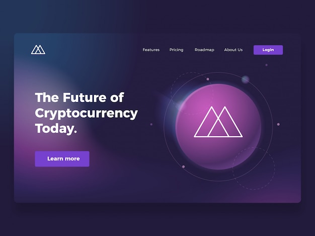Cryptocurrency-pagina met bestemmingspagina hero