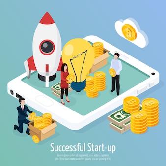 Cryptocurrency succesvolle startup isometrische samenstelling