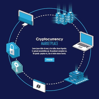 Cryptocurrency-systeem en banner op de markt