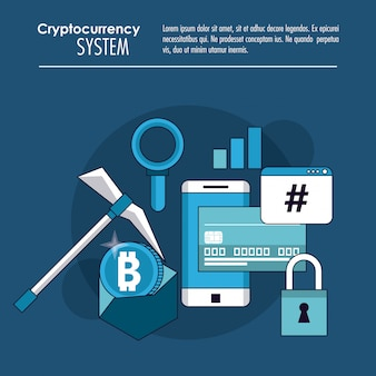 Cryptocurrency-systeem en bannerinformatie op de markt