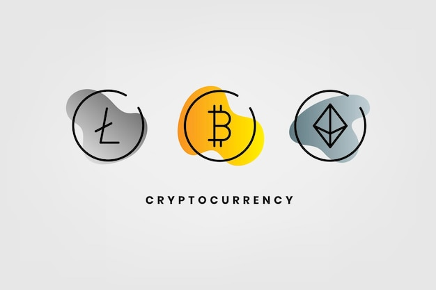 Cryptocurrency-uitwisselingselementen set