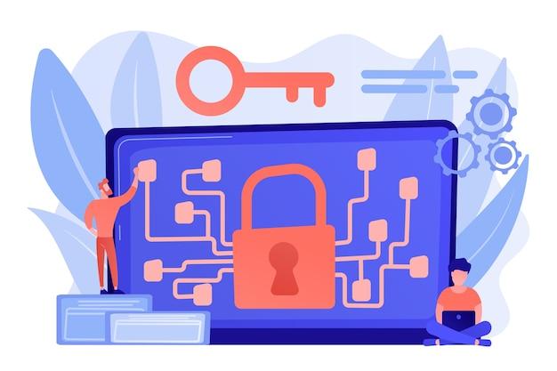 Cryptografische functionaris en systeembeheerder maken algoritme-code voor sleuteleigenaar van blockchain. cryptografie en coderingsalgoritme concept