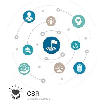 Csr gekleurde cirkel concept met eenvoudige pictogrammen. bevat elementen als verantwoordelijkheid, duurzaamheid, ethiek, doel