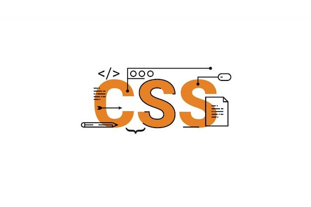 Css-woord het van letters voorzien de illustratie van het typografieontwerp met lijnpictogrammen en ornamenten in sinaasappel