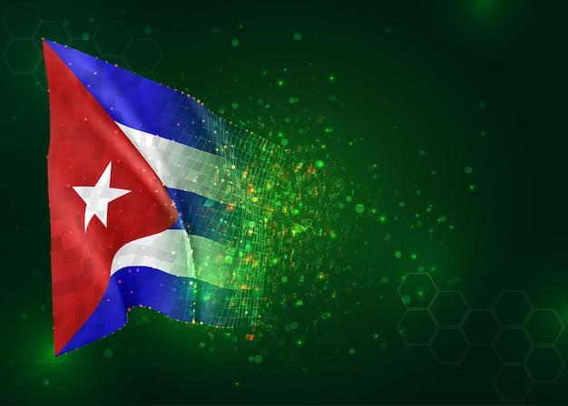 Cuba, 3d vlag op groene achtergrond met polygonengon