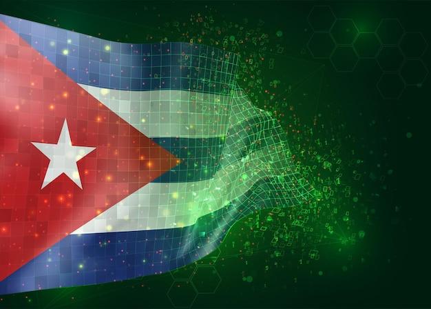 Cuba, op vector 3d-vlag op groene achtergrond met veelhoeken en gegevensnummers