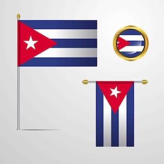 Cuba zwaaien vlag ontwerp met badge vector