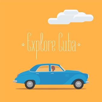 Cubaanse klassieke retro auto illustratie