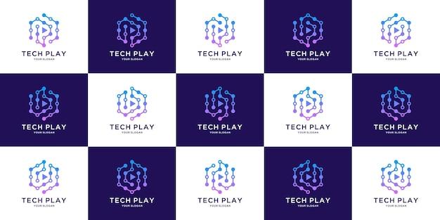 Cube tech-logo met beginletter pb en d-ontwerp