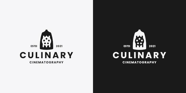 Culinaire bioscoop logo ontwerp retro stijl