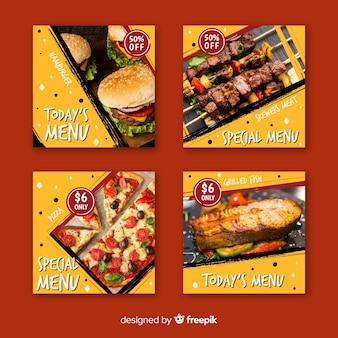 Culinaire instagram-post ingesteld met afbeelding