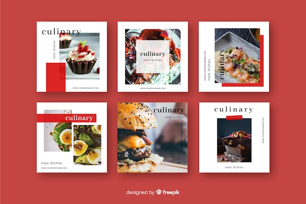 Culinaire instagram-post ingesteld met foto