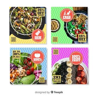 Culinaire instagram-postverzameling met afbeelding