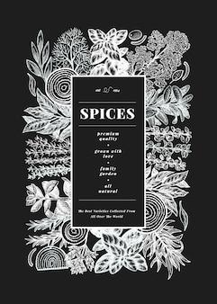 Culinaire sjabloon voor kruiden en specerijen. hand getekend vintage botanische illustratie