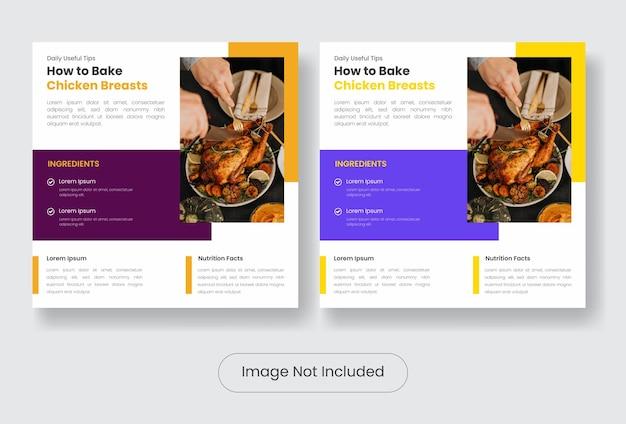 Culinaire voedseltips instagram post bannersjabloon set