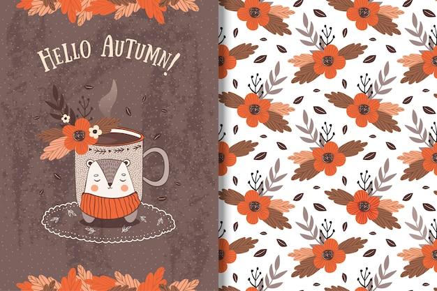 Cup met herfstbladeren card en naadloos patroon
