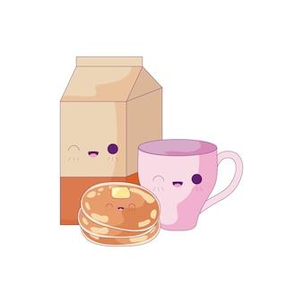 Cup met set voedsel kawaii stijl