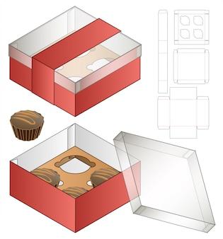 Cupcake box verpakking gestanst sjabloonontwerp. 3d
