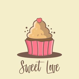 Cupcake cartoon achtergrond voor valentijn dagen