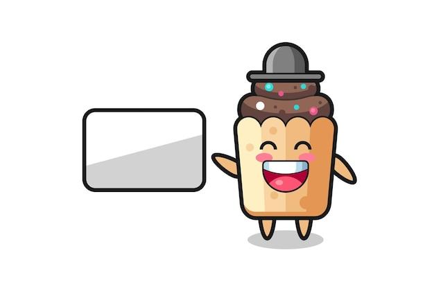Cupcake cartoon afbeelding doet een presentatie, schattig ontwerp