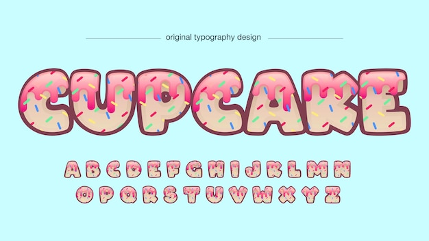 Cupcake decoratieve cartoon typografie