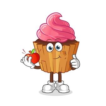 Cupcake die een appelillustratie eet