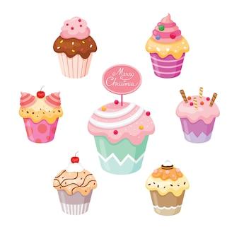 Cupcake die voor eerste kerstdag en vieringen wordt geplaatst