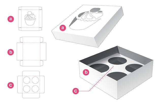 Cupcake-doos met deksel en inzetsteun gestanst sjabloon