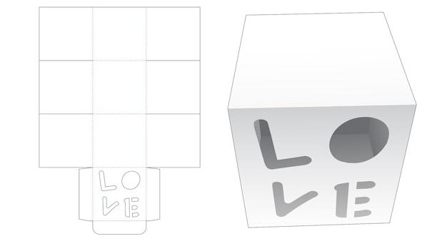 Cupcake-doos met liefde woordvormig venster gestanst sjabloon