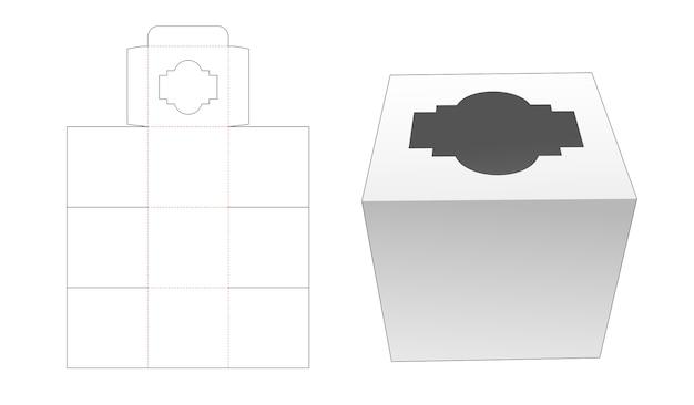 Cupcake doos met venster bovenop omgeslagen gestanste sjabloon