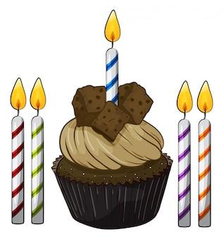 Cupcake en kaarsen