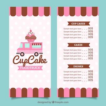 Cupcake food truck menu