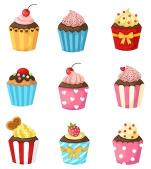 Cupcake instellen vector