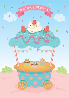 Cupcake kar geïsoleerd