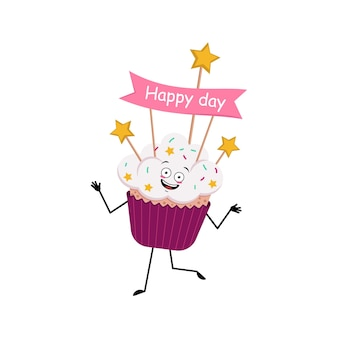 Cupcake karakter met vrolijke emoties glimlach gezicht dansen gelukkige ogen