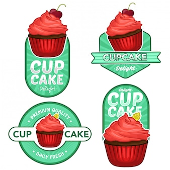 Cupcake logo voorraad vector set