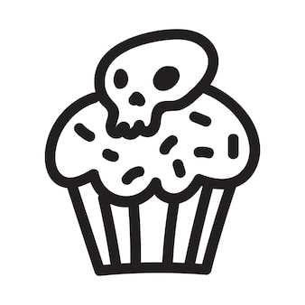 Cupcake met schedel doodle tekening. pictogram geschikt voor logo, patroonontwerp. vector illustratie.