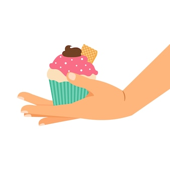 Cupcake met wafel en chocoladeroom