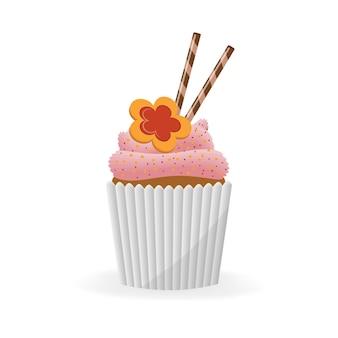Cupcake, muffin op een geïsoleerd wit