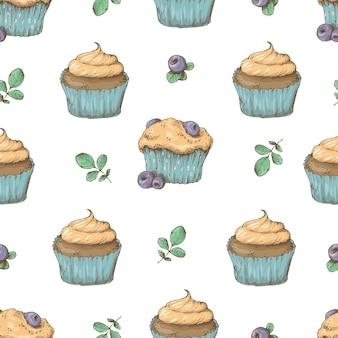 Cupcake naadloos patroon. vector illustratie. hand tekenen