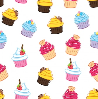 Cupcake naadloze achtergrond
