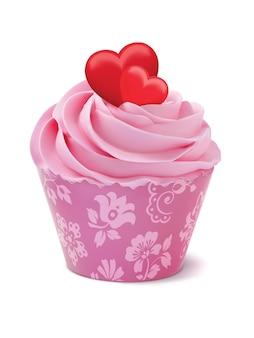 Cupcake of muffin versierd met hartjes
