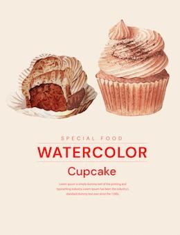 Cupcake realistische aquarel illustratie