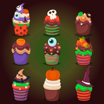 Cupcake set. happy halloween scary sweets.