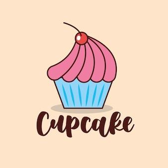 Cupcake van aardbei met kersenbeeldverhaal. vector illustratie