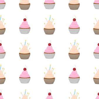 Cupcake vector patroon met confetti hagelslag.