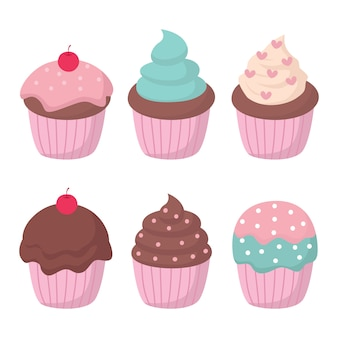 Cupcake vector set illustratie