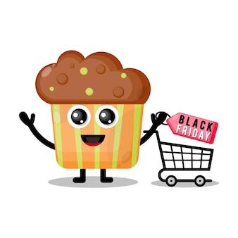 Cupcake winkelen zwarte vrijdag schattig karakter mascotte